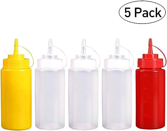 Deylaying 5 Pack Biberon Salsas con Tapas de Rosca, 480ml - Dispensador de Botellas de Plástico para Condimentos Ketchup Mostaza Vinagre Salsa Aceite: Amazon.es: Hogar