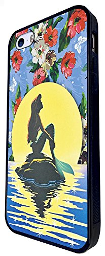 932 - Cool Cut Fun Shabby Chic Flowers Full Moon Mermaid Ocean Dreaming Design iphone SE - 2016 Coque Fashion Trend Case Coque Protection Cover plastique et métal - Noir