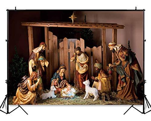 Funnytree 7x5ft Christmas Manger ScenePhotography Backdrop Jesus Christian Holy Night Nativity Photographic Background Portrait Photobooth Banner Party Decorations Photo Studio Props (Nativity Backdrop)