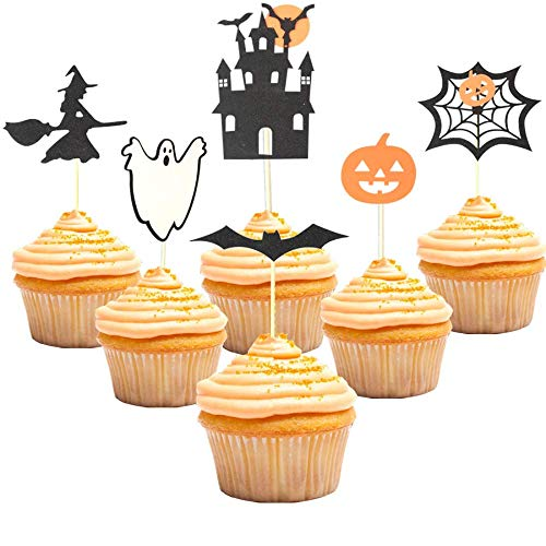 Halloween Cupcake Toppers Pumpkin Haunted House Ghost Bat Witch Spider web Party Decorations Supplies ()