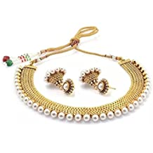Bollywood Style Traditional Indian Jewelry Set Temple Coin Necklace With Earrings for Women