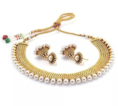 Bollywood Style Traditional Indian Jewelry Set Temple Coin Necklace With Earrings for (Traditional Indian Gold Jewelry)
