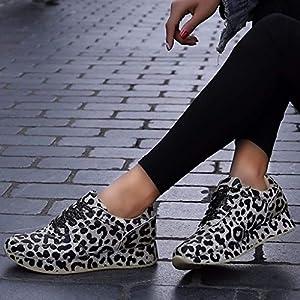 MTENG Women's Fashion Leopard Print Wild Women's Sneakers Shoes Increased Casual Shoes (36-41)