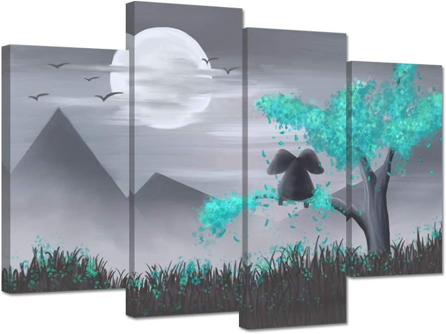 ZingArts 4 Panel Animal Canvas Wall Art Resting Elephant Look at The Moon on Teal Tree Landscape Pictures Painting on Canvas for Home Office Decorations Wall Decor Stretched and Framed Ready To Hang