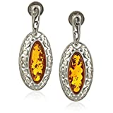 Rhodium Plated Sterling Silver Honey Amber Ornamental Drop Earrings