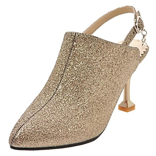 TAOFFEN Women Fashion Summer Shoes Slingback Gold-5 Qz0FGp
