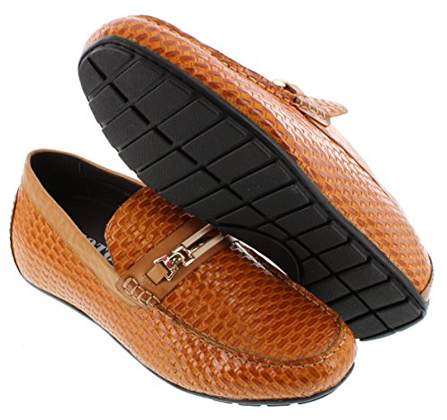 Toto H3216-2.2 Inches Taller - Height Increasing Elevator Shoes (brown Slip-on Moc-toe)