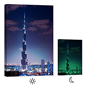 Glow in the Dark Canvas Painting - Stretched and Framed Giclee Wall Art Print - City Urban Decor Burj Khalifa Dubai - Master Bedroom Living Room Decor - 24 x 36 inch