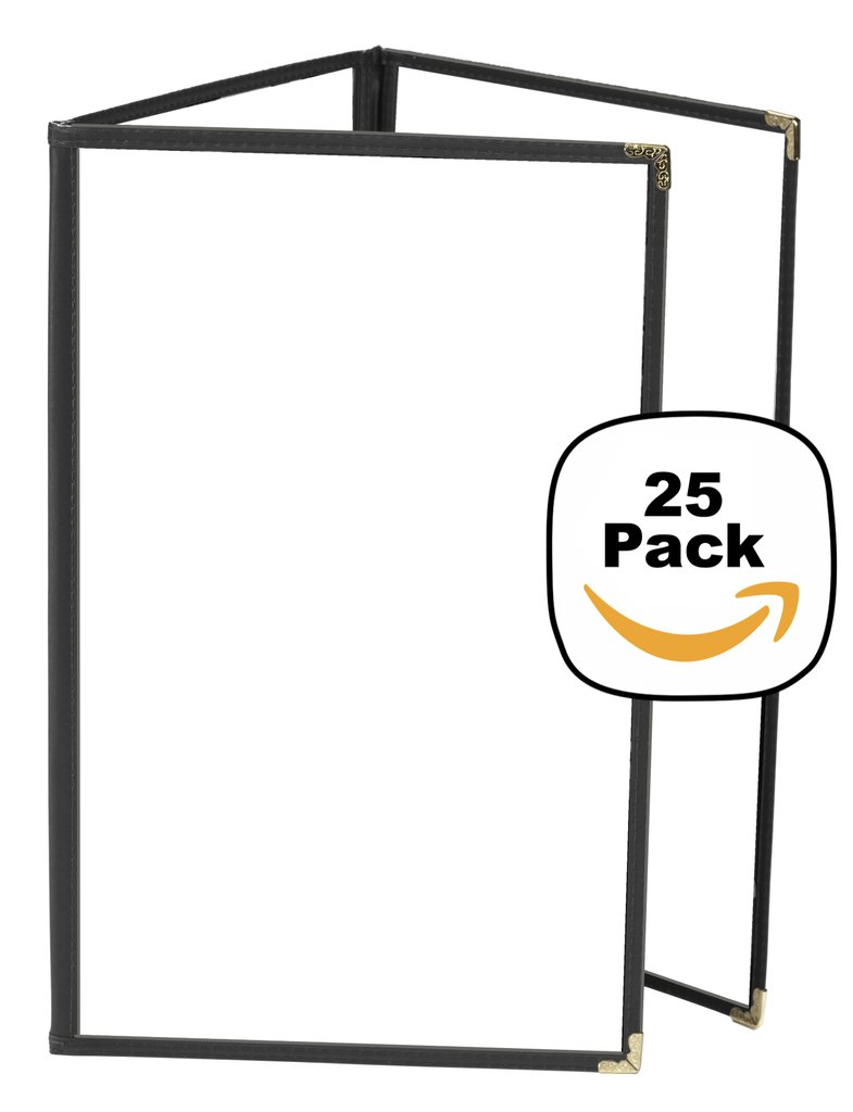 JR SALES CORP, VAL-C58-BLACK, 25 Pack of Menu Covers, Trifold , 6 Views, Holds 5.5'' x 8.5'' Inserts, Black Leatherette Trim, Gold Decorative Corners, 10 Gauge Crystal Clear Panels, *Restaurant Quality*