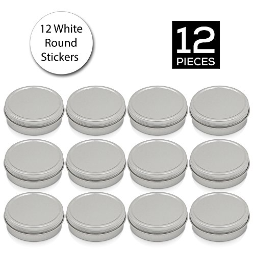 [12 Pack] Simba Homes™ Screw Top Round Steel Tin Cans 2 oz (60 ml) with Self Adhesive White Round Stickers