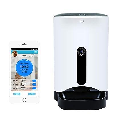 AL Capacidad Media Gato Perro Automático Alimentador WiFi Teléfono Móvil App Inteligente Mascota Alimentador