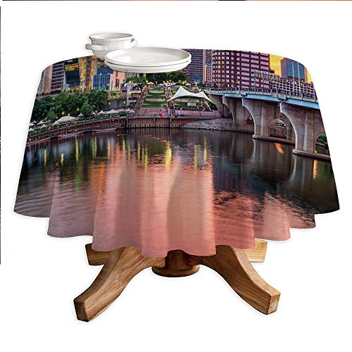 United States Round Polyester Tablecloth,Water Reflection in Evening Urban City Hartford Connecticut Tranquil Sunset Decorative,Dining Room Kitchen Round Table Cover,60