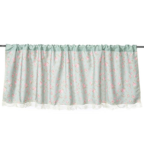 Green Floral Pattern Cotton Lace Window Curtain Valances For Kitchen Living Dining Room Bathroom Kids Girl Baby Nursery Bedroom 59 X 20 Inch