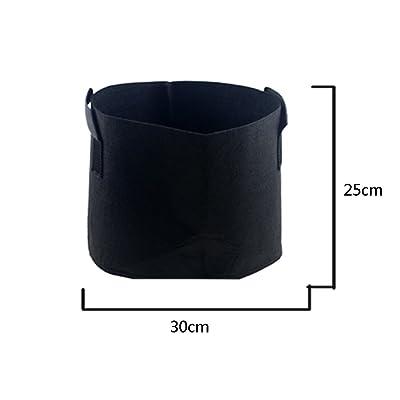 HONGVILLE Grow Bags/Aeration Fabric Pots with Handles, 5 gal, Black : Garden & Outdoor