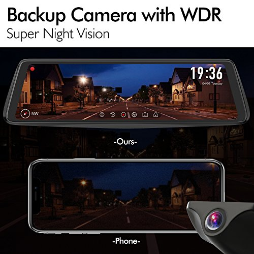 X1PRO Rear View Mirror Dash Cam 9.88'' Full Touch Screen Dual Lens with 1296P Front and 720P Super Night Vision Stream Media Backup Camera kit, WDR,LDWS, GPS Tracking,Auto-Brightness Adjusting by AUTO-VOX (Image #1)