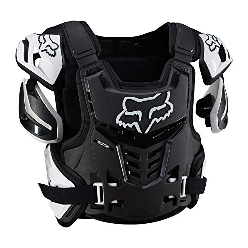 Motorcycle Bike Armor Body - Fox Racing Raptor Vest Mens Roost Deflector Body Armor - Black/White  Large/X-Large