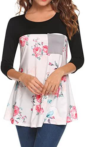 Easther Women Casual Floral Print O-Neck 3/4 Sleeve Patchwork Shirts Blouse Tops