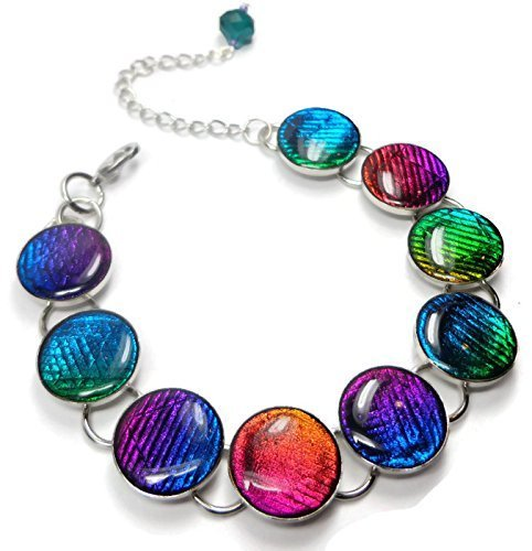 Cabochon Dichroic Bracelet, Polymer Clay Jewelry, Ready to Ship, Gifts for Her