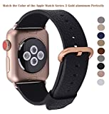 PEAK ZHANG Compatible Iwatch Band 38mm 40mm S/M Women Genuine Leather Replacement Strap Compatible iWatch Series 3 Gold/Series 4 Gold Aluminium, Black