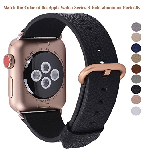 PEAK ZHANG Compatible Iwatch Band 38mm, Women Black Genuine Leather Replacement Strap with Series 3 Gold Metal Adapter and Buckle Compatible Iwatch Series 3 Gold Aluminum by PEAK ZHANG