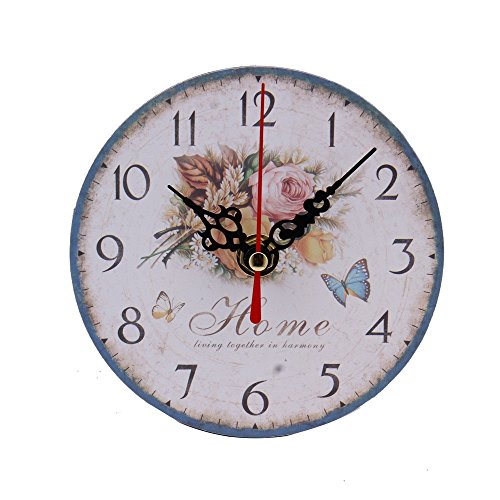 Foutou Silent Retro Wooden Decorative Round Wall Hours Antique Vintage Rustic Wall Clocks (A)