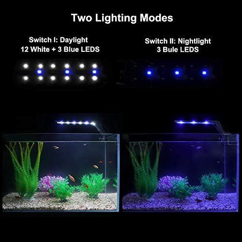 Clip on Light Clamp Lamp 24 LED White and Blue Yours Bath Aquarium Light Flexible 360 Degree Adjustment Fish Tank Light Unit UK for Plants Algae