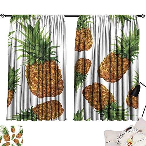 Grommet Curtains Watercolor Pineapple Seamless Pattern Hand Painted Tropical Fruit with Leaves Isolated on White Background Food Botanical Illustration for Design or Print 63