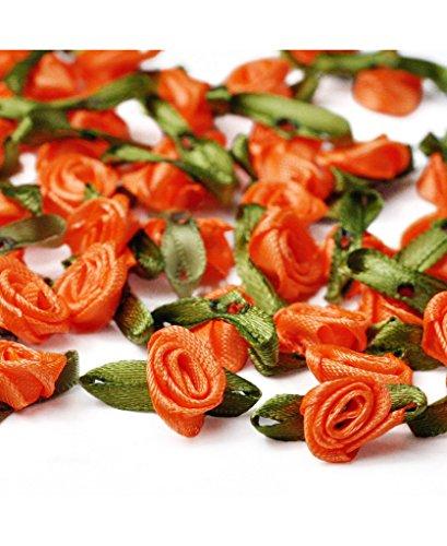 Ajetex 100pcs Satin Ribbon Rose Flower 12mm Wedding Appliques Orange Red