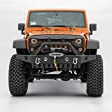 GSI 07-17 Jeep Wrangler JK Rock Crawler Front Bumper with D-Ring and Winch Plate Ready&OE Fog Lights Hole-Textured (Black)