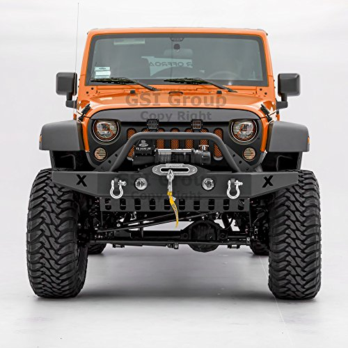 (GSI Rock Crawler Front Bumper w/Skid Plate, with D-Ring and Winch Plate Ready&OE Fog Lights Hole-Textured for 07-18 Jeep Wrangler JK)