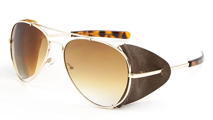 0e924883bd Retro Aviator Sunglasses w  Faux Leather Side Shields (Gold Frame - Brown  Leather