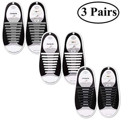 (Talent Fashion Kids/Adults Tieless Elastic Silicone No Tie Shoelaces Waterproof Rubber Flat Running Shoe Laces for Sneakers Board Shoes Casual Shoes and Boots (a.Adult 3 Black+White+Gray))