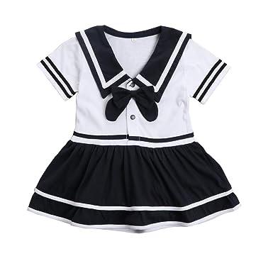 Bebé niña Marinero Vestido Negro y Blanco Rayas Manga Corta ...