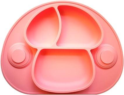 Rose Assiette /à Ventouse en Silicone pour B/éb/é Enfants en Bas Age et Enfants Aspiration Forte /à la Table Set de Table avec Compartiments 100/% sans BPA Lave-Vaisselle et au Micro-Ondes