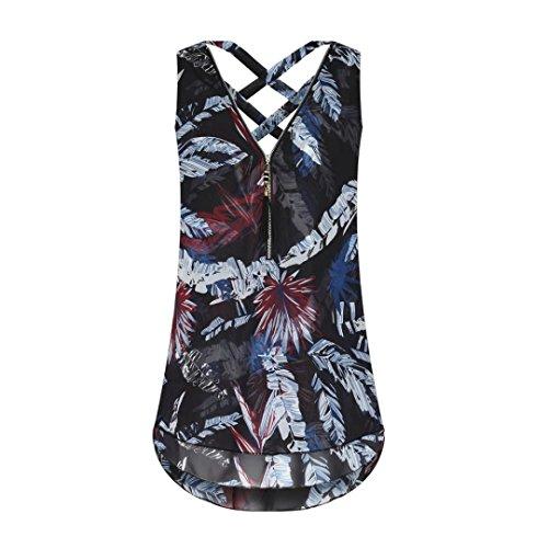 BCDshop Women Sleeveless Tank Top Lady Casual Shirt Fashion Summer Camis Blouse (Black A, XL) by BCDshop