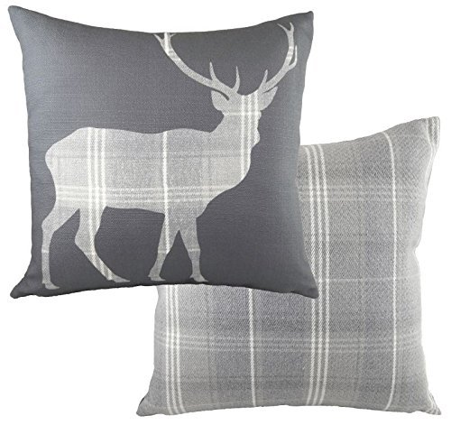 EVANS LICHFIELD HIGHLAND STAG DEER SILHOUETTES TARTAN CHECK GREY WOOL LOOK FEEL CUSHION COVER 17