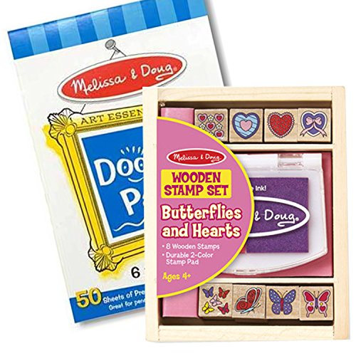 Mellissa and Doug Wooden Butterflies & Hearts Stamp Pad and Free Doodle Pad Combo Package. (Melissa Doug & Doodle Pad)