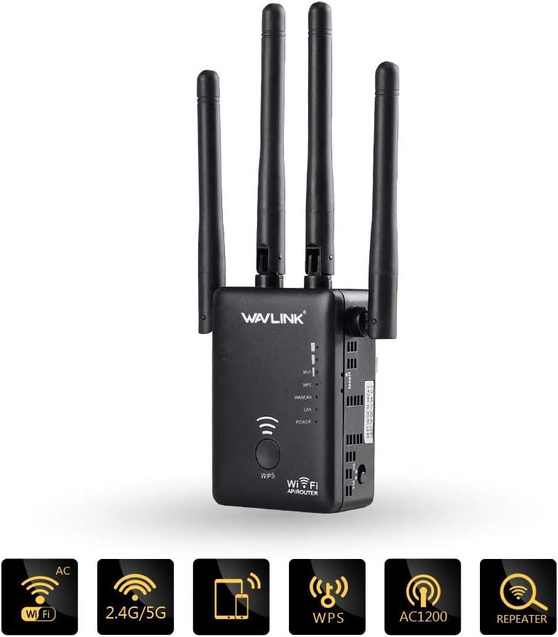 WAVLINK - Amplificador wifi 5G, extensión de largo alcance AC1200 WiFi, doble banda 1200 Mbps, repetidor/punto de acceso al amplificador de señal 5K ...