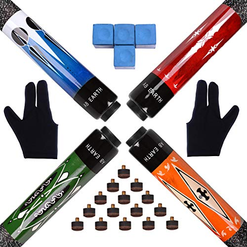 """AB Earth Set of 4 Pool Cues 2-Piece 57"""" Billiard House Bar Pool Sticks with Screw-on Tips (Set of 4 + 15 Screw-on Tips + 4 Chalks + 2 Gloves) from AB Earth"""