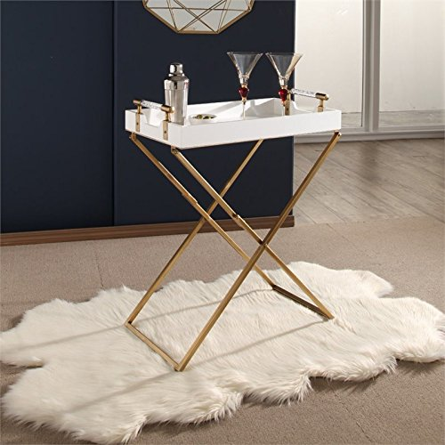 Abbyson Bella Iron Tray Table in White by Abbyson Living (Image #2)
