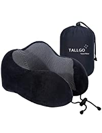 Travel Pillow Best Memory Foam Neck Pillow Head Support Soft Pillow for Sleeping Rest Airplane Car & Home Use (Black)