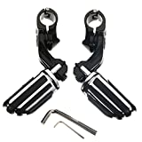 HITSAN 32mm/1.25inch Pair Black Short Mount Foot Pegs Pedals Adjustable Universal For Harley One Piece