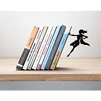 Artori Design  Supergal Black Metal Female Superwoman Bookend Unique Bookends Gifts for Amazon com Toscano T Rex Dinosaur Cast Iron Sculptural