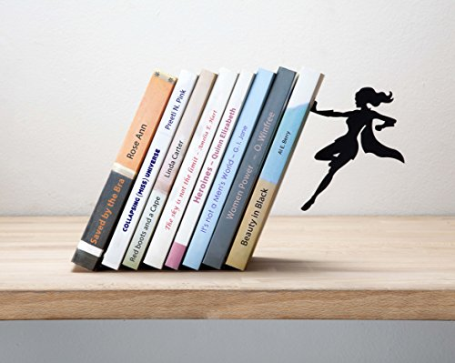 "Artori Design ""Supergal"" Black Metal Female Superwoman Bookend, Unique Bookends, Gifts for Girls, Gifts for Book Lovers, Cool Book Stopper"