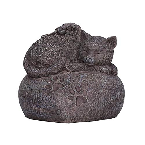 Pacific Giftware Pet Memorial My Love Sleeping Angle Cat Foot Print Rock Urn Bottom Load 30 Cubic ()