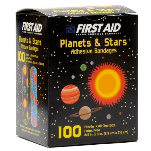 First Aid Children's Adhesive Bandages: Planets and Stars 100 Per Box - Last Cartoon Skin