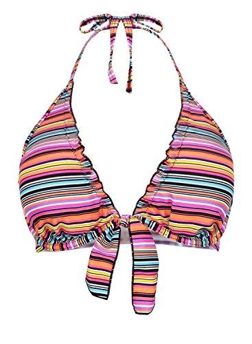 Futurino Women's Self-tie Front Halter Neck Push Up Triangle Bikini Top,Multicoloured,Small (Front Ruffle Top Halter)