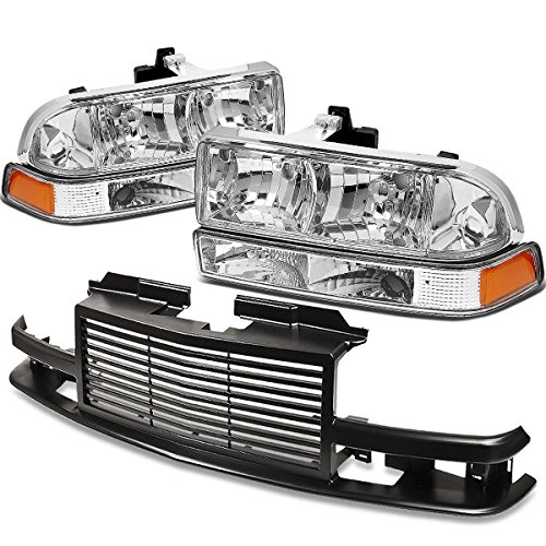 For Chevy S10/Blazer GMT 325/330 Headlight (Chrome Housing Amber Reflector)+Front Grille (Black) ()