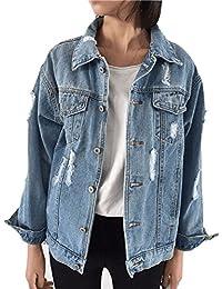 Oversized Denim Jacket for Women Destoryed Long Sleeve Boyfriend Jean Jacket Loose Coat