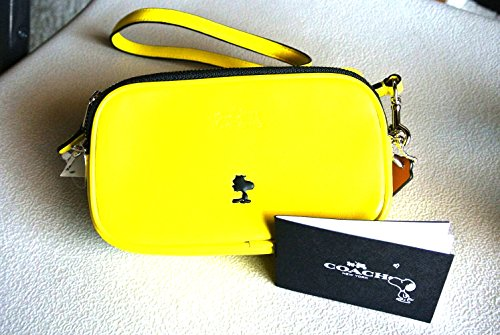 Yellow Coach Bag Ed Limited Peanuts X Snoopy Crossbody Leather Pouch YrprzXO